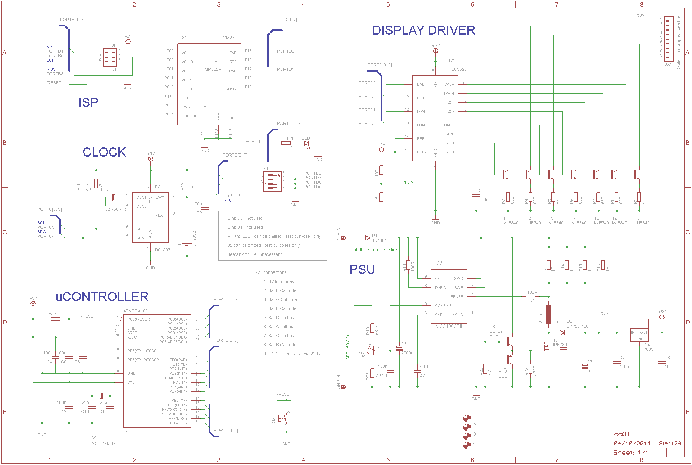Sgitheach 7 Segment Clock Circuit Diagram The Pcb Design Is Based On A Single Sided 100mm X 160mm Board Shortened Slightly To Fit Case Im Going Use Built In Three Parts